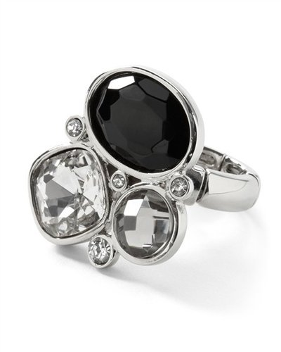 Crystal/Jet Stone Stretch Ring