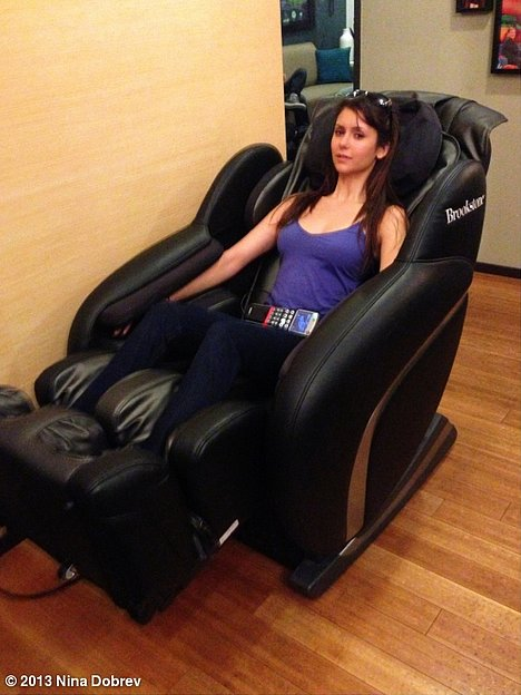 Nina Dobrev relaxed in a massage chair backstage at the Conan show. Source: Nina Dobrev on WhoSay