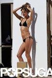 Alessandra Ambrosio Playfully Poses in a Tiny Black Bikini