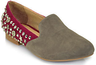 Jeffrey Campbell - Elegant Duo - Wine Suede Studded Loafer