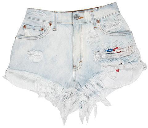 Vintage Denim Cut Off Shorts  in Faded Denim - by RUNWAYDREAMZ
