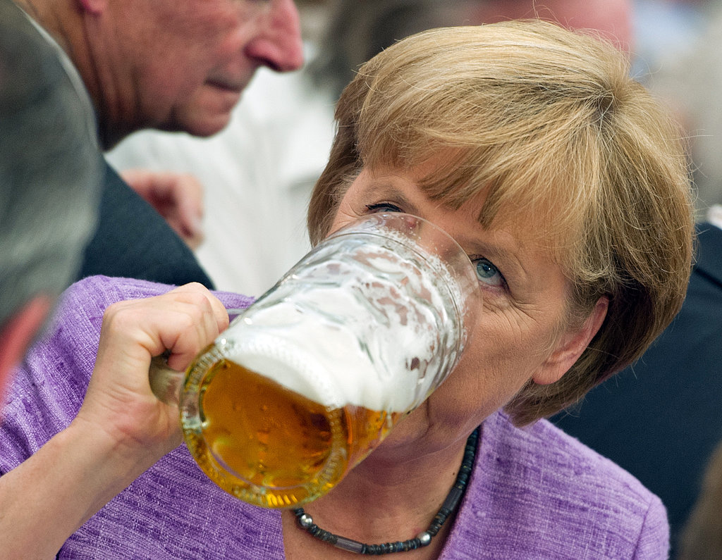 "German Chancellor Angela Merkel attended the annual ""political morning pint"" event in 2012."