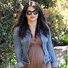 Pregnant Jenna Dewan in LA Wearing a Brown Maxi Dress