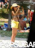Eva Longoria snapped pics in a bikini top during a July 2010 trip to Croatia.
