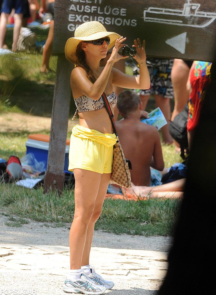 Eva Longoria snapped pics in a bikini top during a July 2010 trip to Croatia.