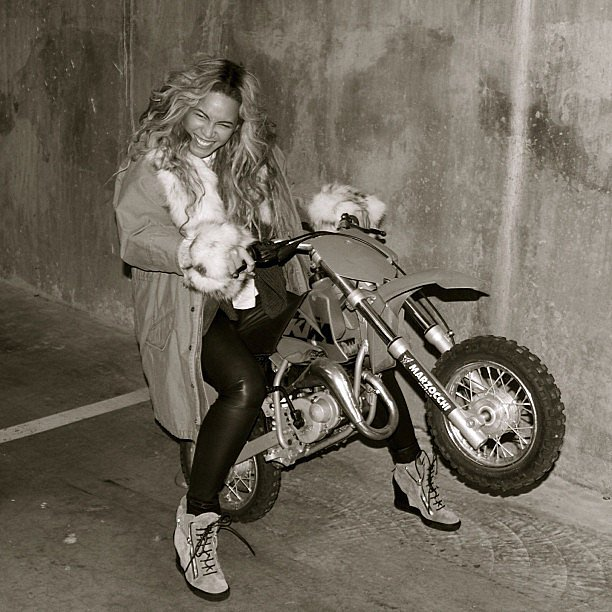 Beyoncé revved the engine on a dirt bike. Source: Instagram user baddiebey