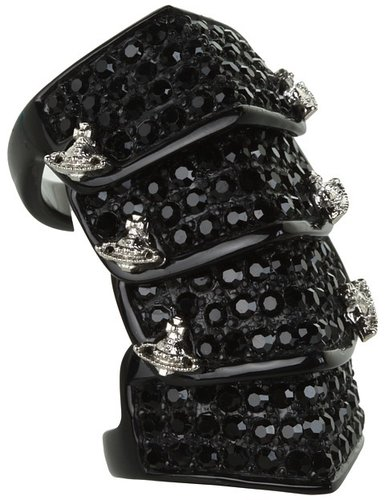 Vivienne Westwood - Resin Pave Armour Ring (Black/Jet) - Jewelry