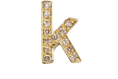 Jennifer Meyer Diamond Lowercase &#039;k&#039; Stud Earring