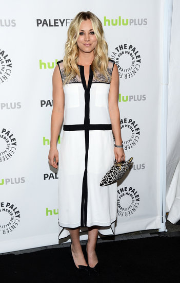 Kaley Cuoco donned a loose-fitting black-and-white BCBG Max Azria Spring 2013 dress with black pumps and a black-and-white printed clutch at the 30th annual PaleyFest in Beverly Hills, CA.