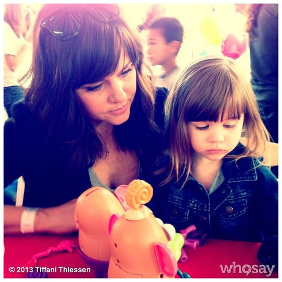 Harper Smith was busy playing with Mr. Potato Head at a charity event for abused children. Source: Instagram user tathiessen