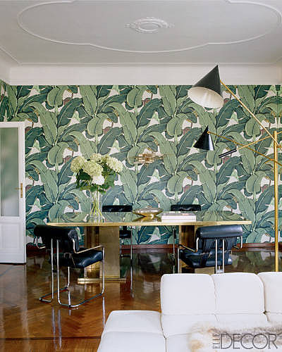 A Nate Berkus design, this space mixes vintage and exotic elements, creating a green room that demands attention.   Source: Elle Decor