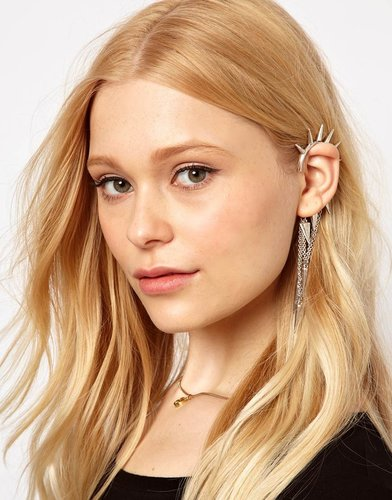 River Island Spike Ear Hook With Chain Drops