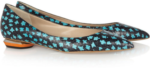 Nicholas Kirkwood Printed elaphe flats