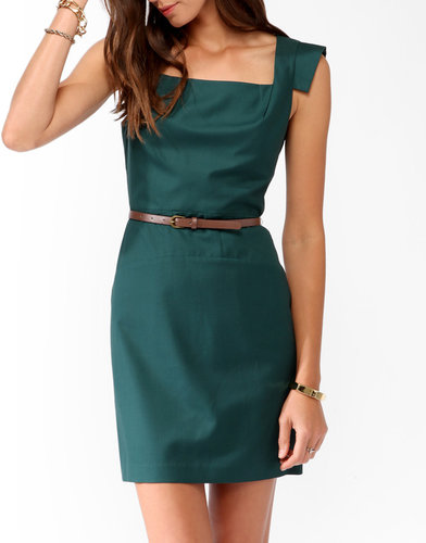 FOREVER 21 Squared Sheath Dress w/ Belt