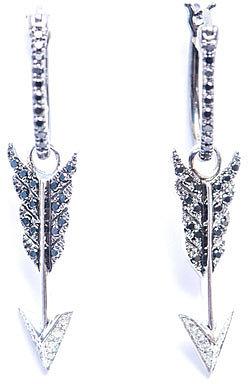 """[a href=""""/womens/elise-dray""""]Elise Dray[/a]              Diamond & gold arrow charm earrings"""