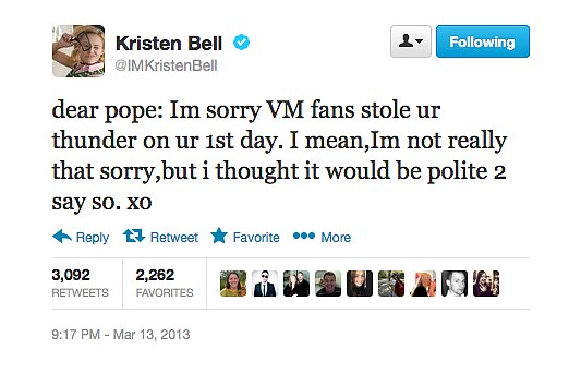 Kristen Bell Tweet on Veronica Mars
