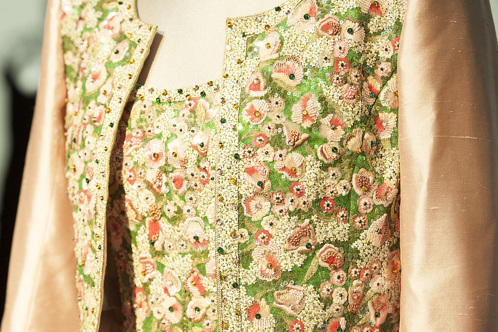 A detail of the Catherine Walker gown worn for a state visit to India in 1992.