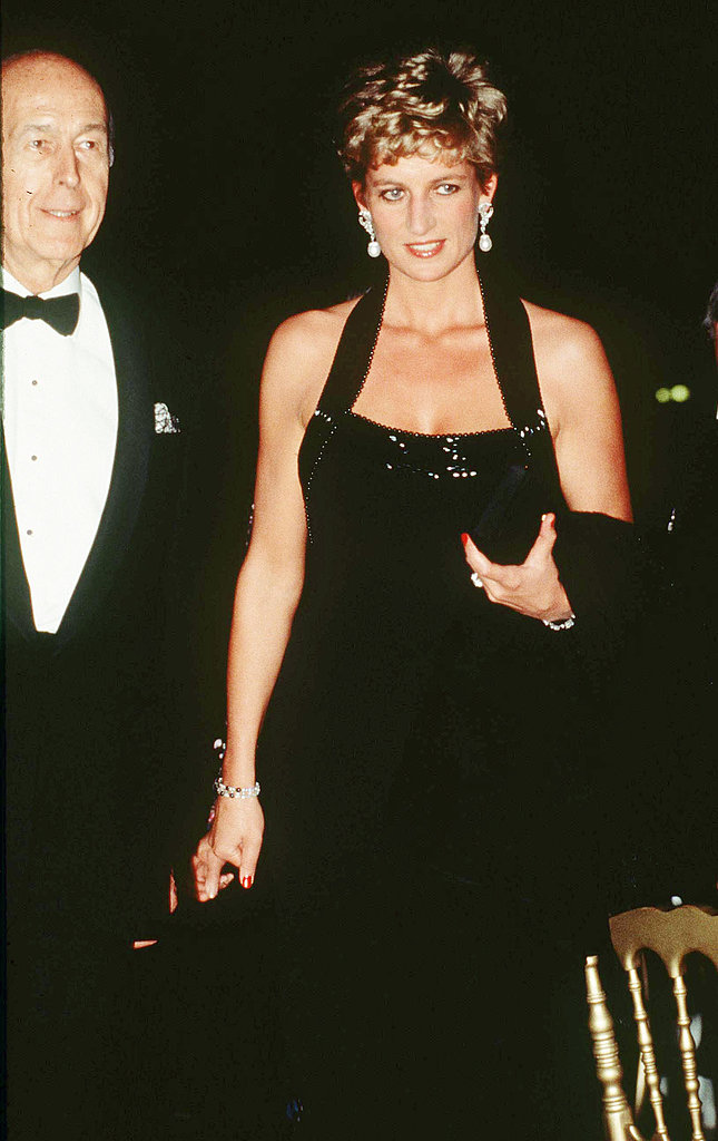 Princess Diana in a Catherine Walker gown at a charity function in Versailles in 1994.