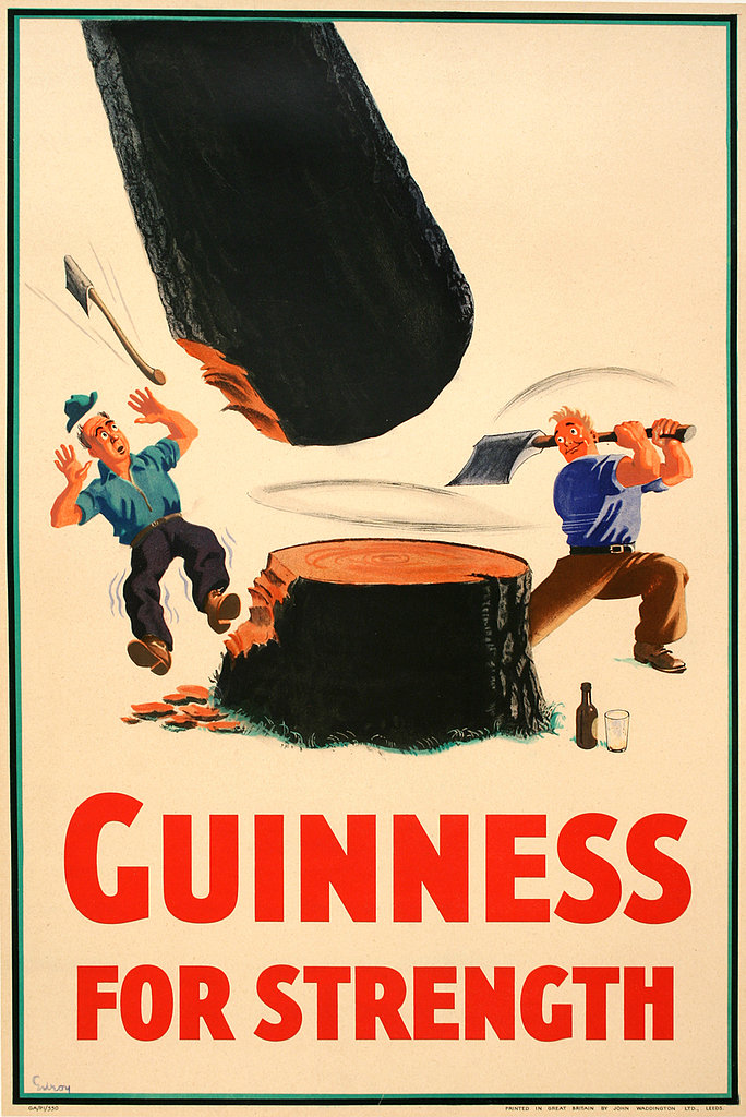 """Guinness for strength"" became a popular tagline in the 1930s and pictured people performing incredible feats of strength thanks to the brew."