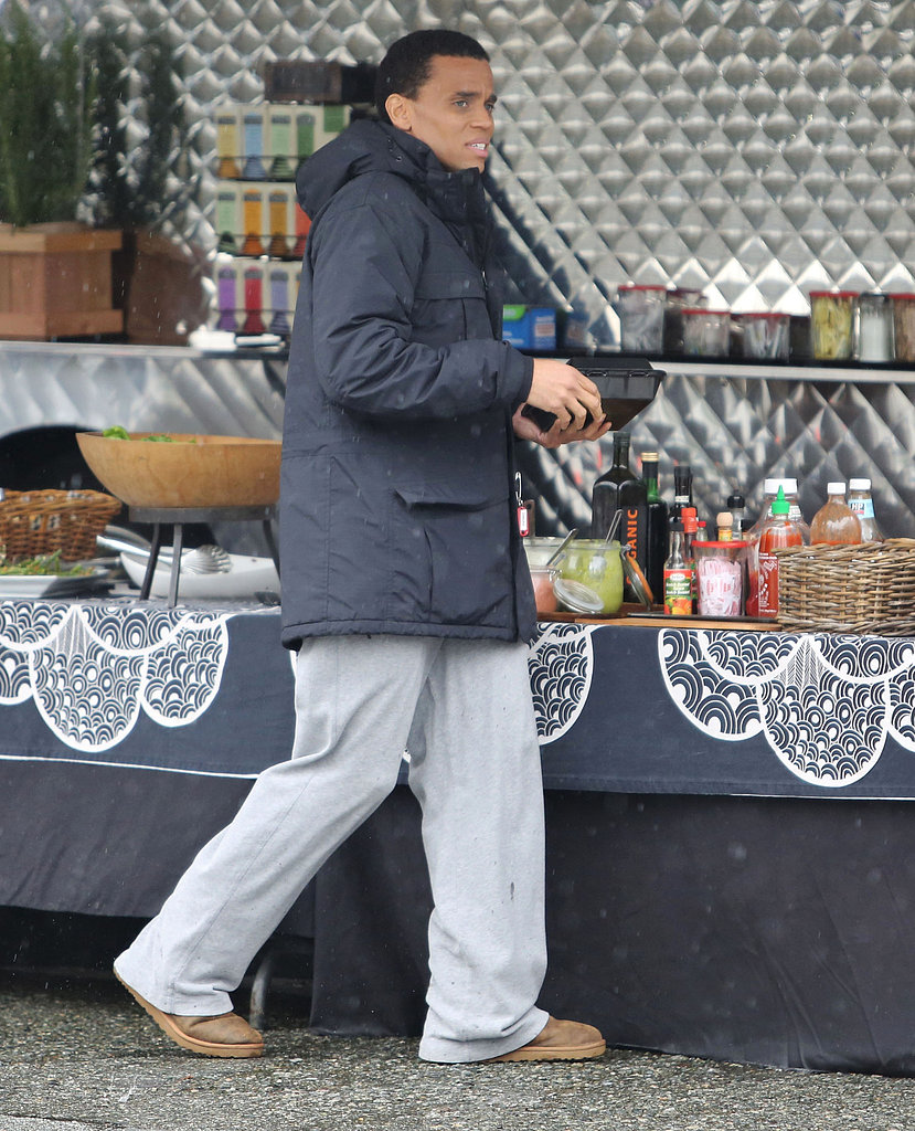 Michael Ealy stopped to grab lunch on set while working on the pilot for Human in Vancouver on Thursday.