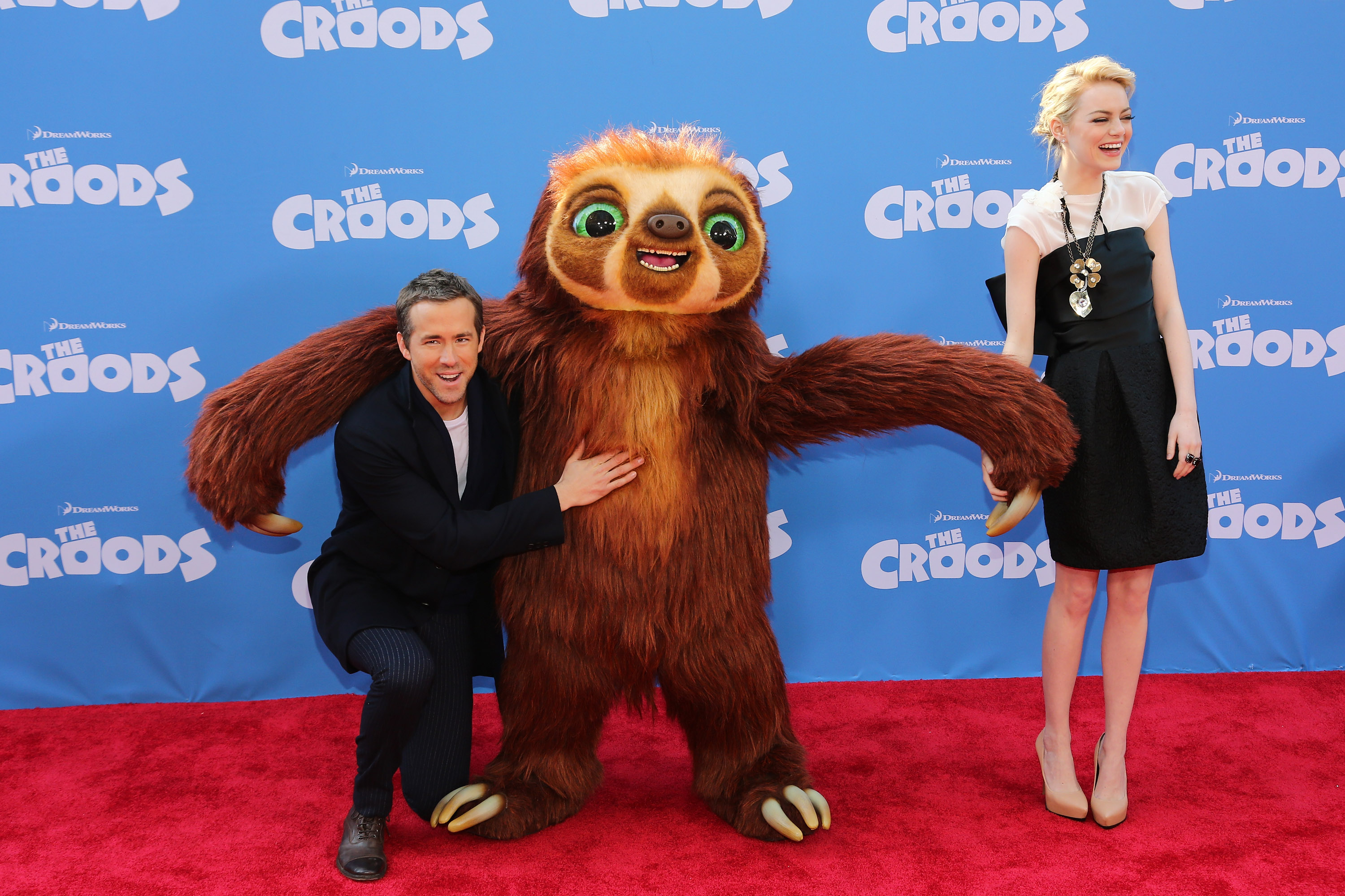 Emma Stone and Ryan Reynolds paired up on the red carpet for their NYC premiere of The Croods.