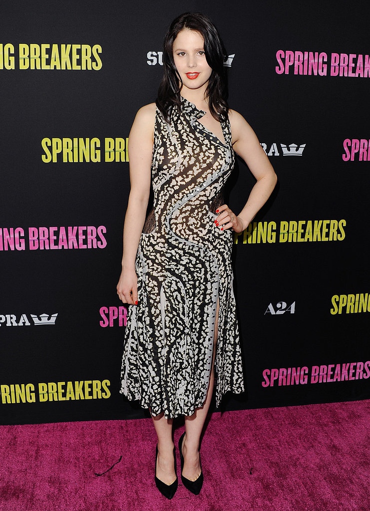 Rachel Korine stepped out for the LA premiere of Spring Breakers in a printed knee-length cocktail dress, complete with a cool asymmetrical-cut neckline.