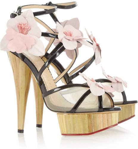 Charlotte Olympia Botanica orchid-embellished patent-leather sandals