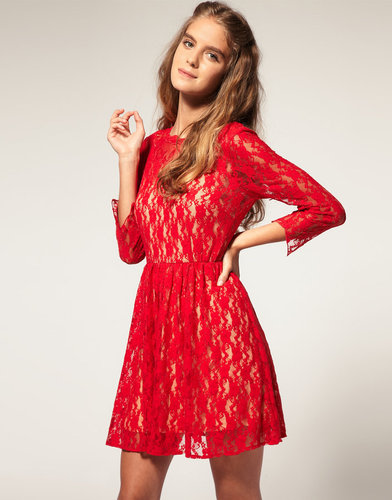 ASOS Lace Dress with Appliqu Neck