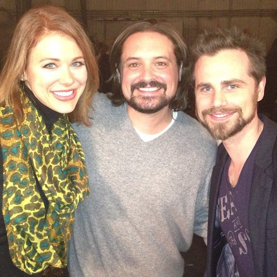 Maitland Ward, who played Rachel on Boy Meets World's later years, posed with Will Friedle and Rider Strong on a set visit. Source: Instagram user amaitlandbaxter