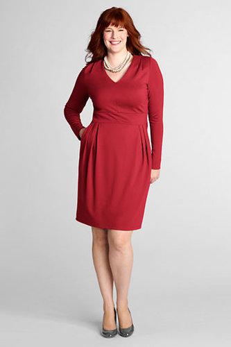 Women's Plus Size Pleat Shoulder Drapey Ponté V-neck Dress