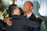 Channing Tatum hugged Dwayne Johnson.