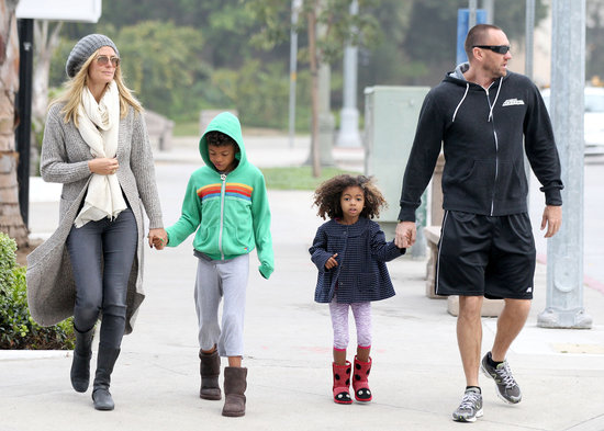 Heidi Klum and Martin Kristen took Lou and a green-wearing Henry out in LA on St. Patrick's Day 2013.