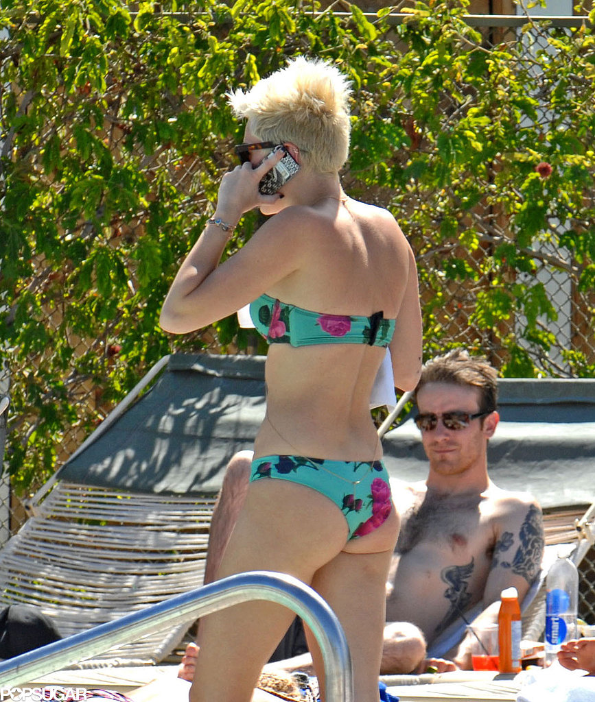 Miley Cyrus wore a printed bikini.