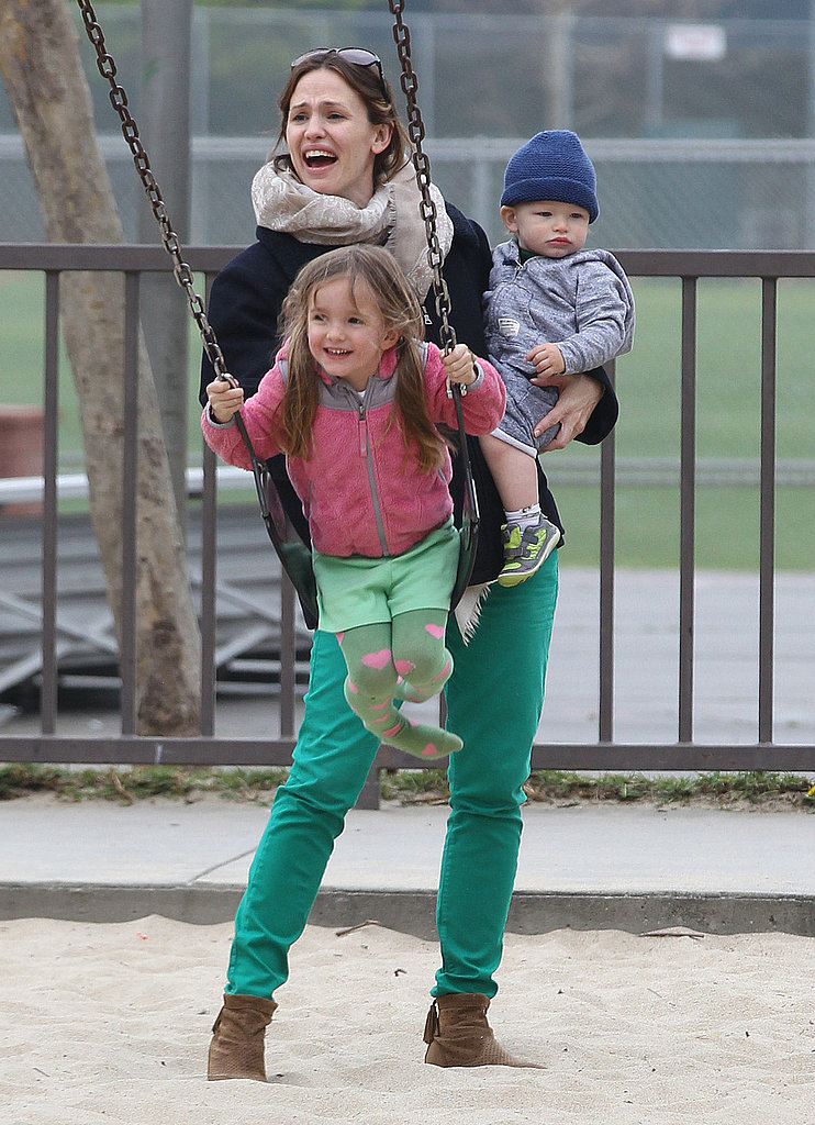 Jennifer Garner played with Seraphina and Samuel Affleck at an LA park on St. Patricks Day in March 2013.