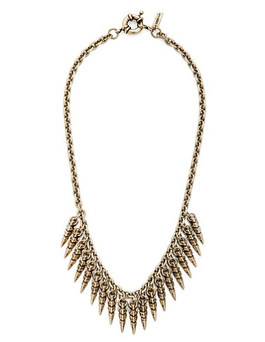 This Multi Spear Collar Necklace ($60) will instantly add edge to your bare neck. The horn accents resemble mini bullets — very cool.