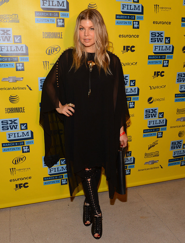 Fergie stepped out in an edgy black ensemble for the Scenic Route screening.