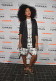 At the Topshop LA opening, Solange Knowles went the geometric route in a black and white ensemble, finished with a black tuxedo blazer and strappy Chanel shoes.