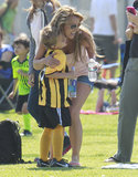 Britney Spears hugged her son Jayden on the sidelines of his soccer game in LA.
