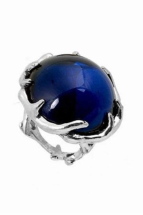 House of Harlow 1960 Antler Ring with Round Navy Cabochon in Silver