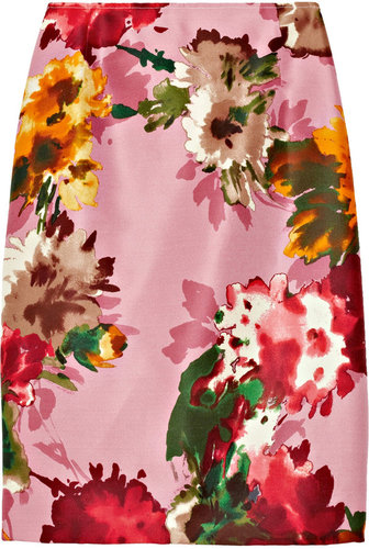 Oscar de la Renta for THE OUTNET Floral-print silk-twill pencil skirt