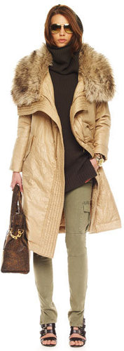 MICHAEL Michael Kors  Long Faux-Fur Collar Coat