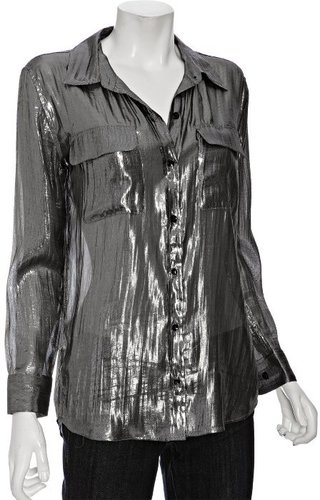 Equipment silver metallic silk blouse