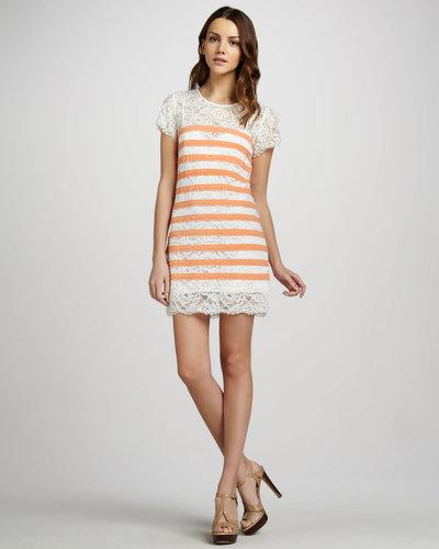 BCBGMAXAZRIA Striped Lace Short-Sleeve Dress