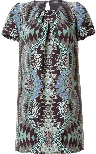 Matthew Williamson Jade/Black Printed Silk Dress