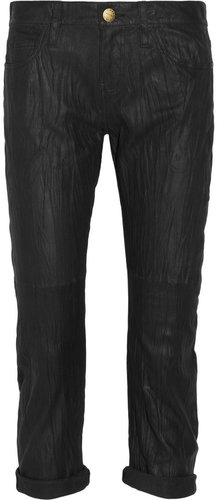 Current/Elliott The Boyfriend washed-leather cropped pants
