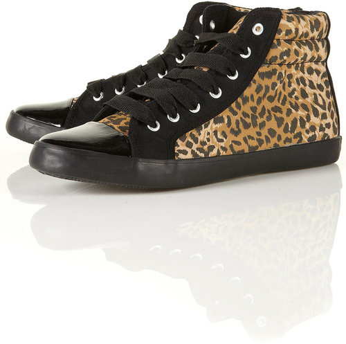 TUNE Leopard Print Patent Toe Canvas High Top Trainers