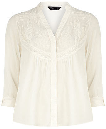 Ivory embroidered smock top