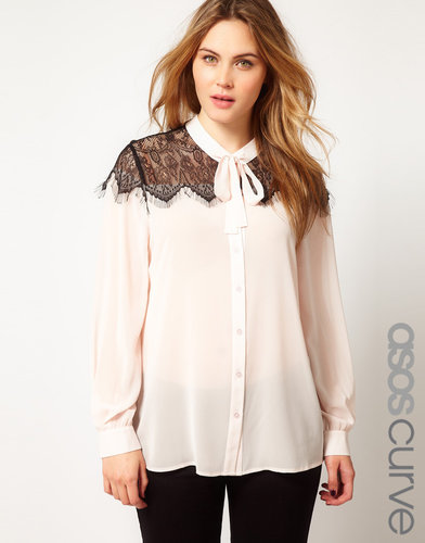 ASOS CURVE Blouse With Eyelash Lace