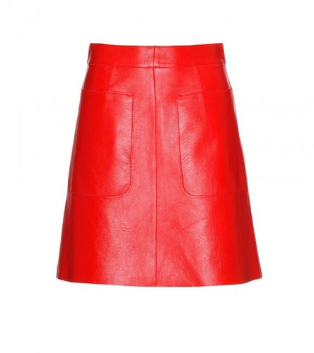 Marni Edition A-LINE COLOUR-BLOCK LEATHER SKIRT