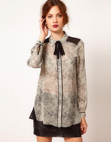 Warehouse Lace Print Blouse
